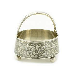Russian silver and niello sugar basket, Gustav Klingert