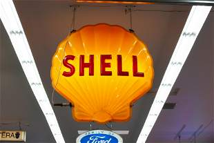 SHELL DOUBLE-SIDED LIGHTED PLASTIC SIGN