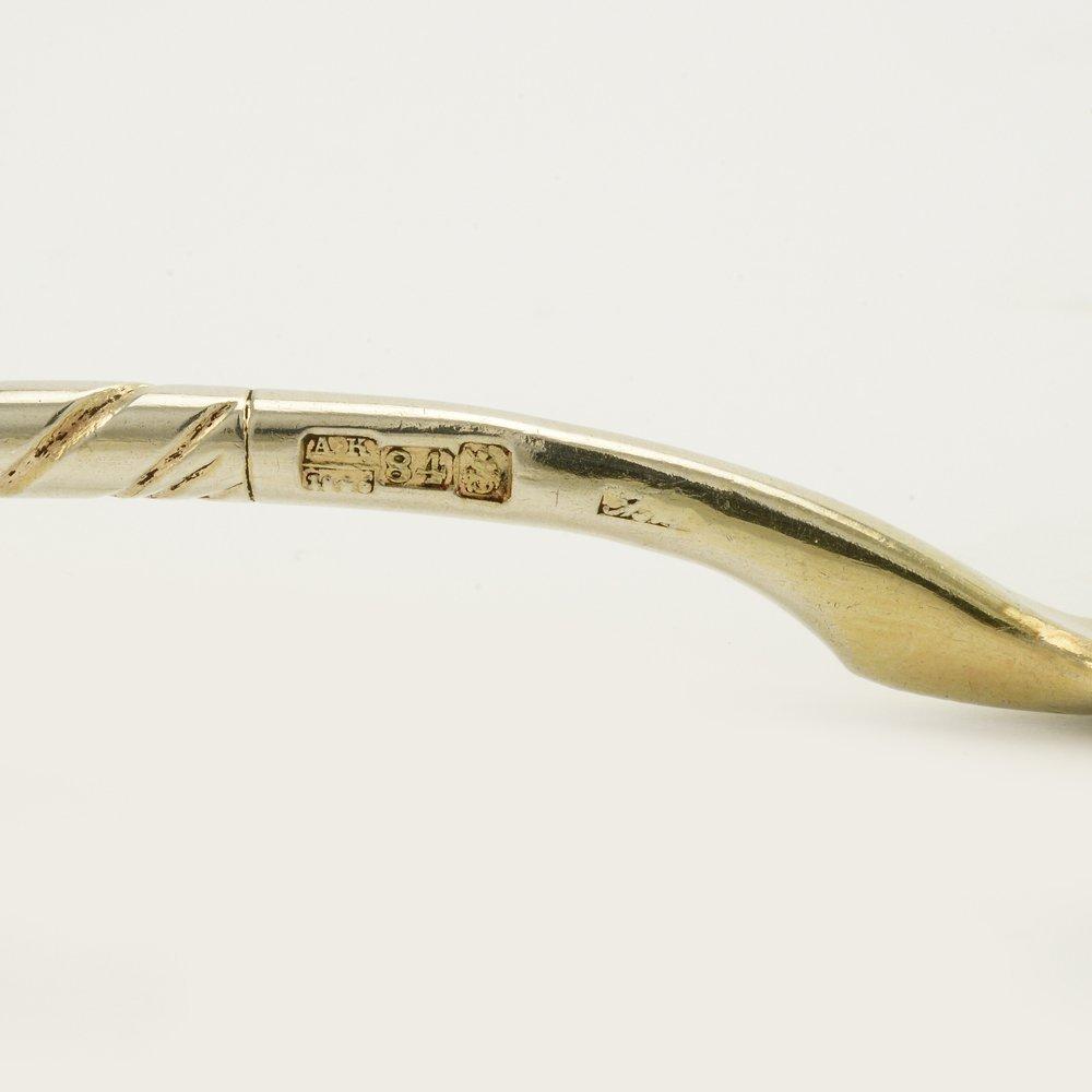 An 1846 Russian gilded silver niello serving spoon - 4
