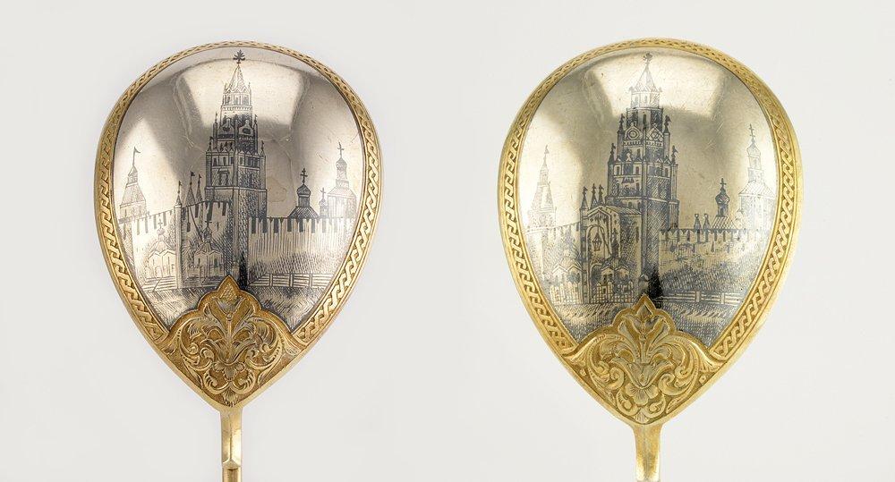 2 Russian gilded silver niello Serving spoons Semenova