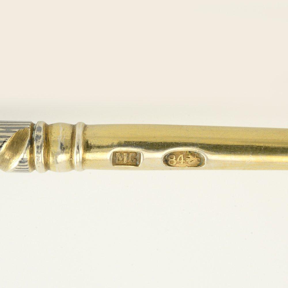 2 Russian gilded silver niello Serving spoons Semenova - 9