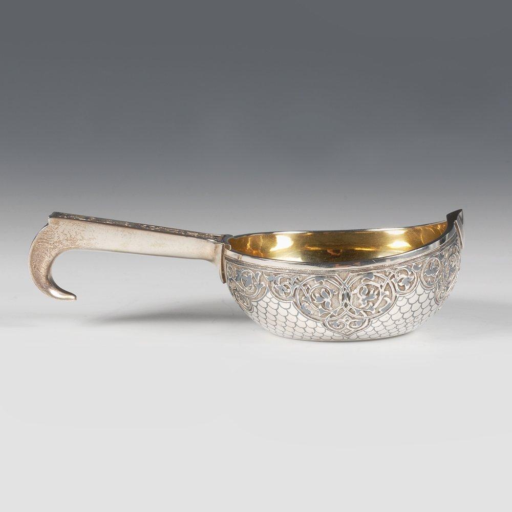 A Russian silver niello Semenova kovsh, 1896