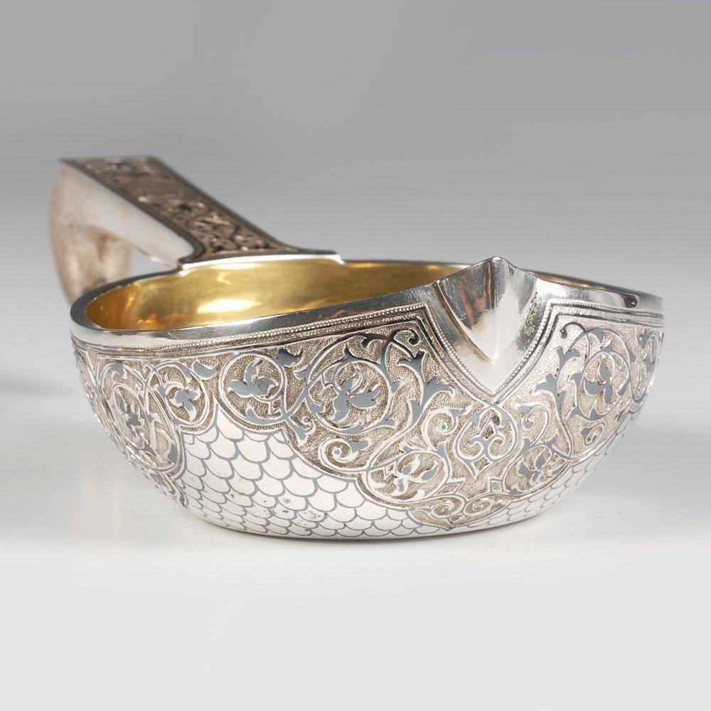 A Russian silver niello Semenova kovsh, 1896 - 2