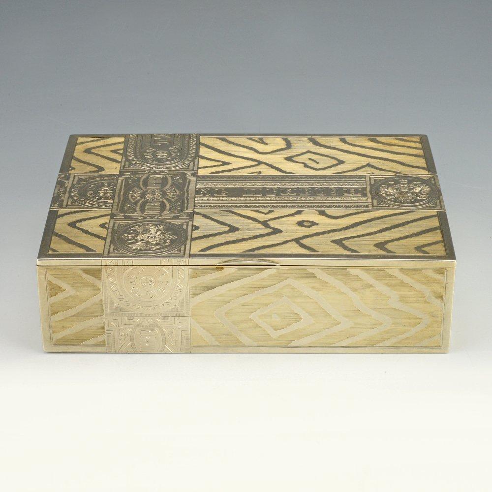 A Russian gilded silver table cigar box by Skvortsov