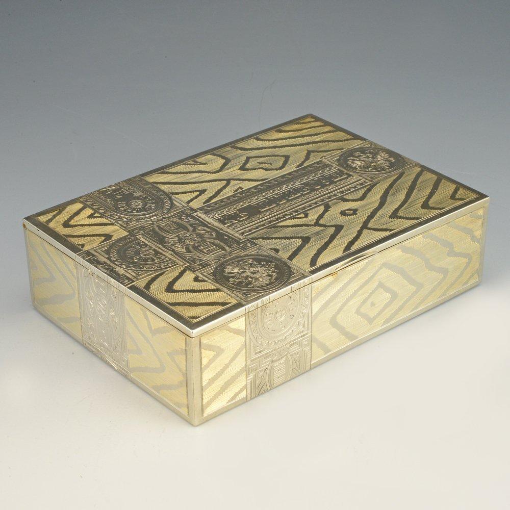 A Russian gilded silver table cigar box by Skvortsov - 2