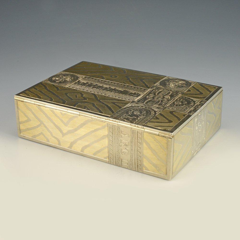 A Russian gilded silver table cigar box by Skvortsov - 3