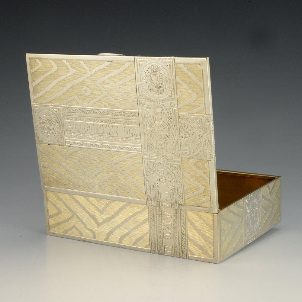 A Russian gilded silver table cigar box by Skvortsov - 4