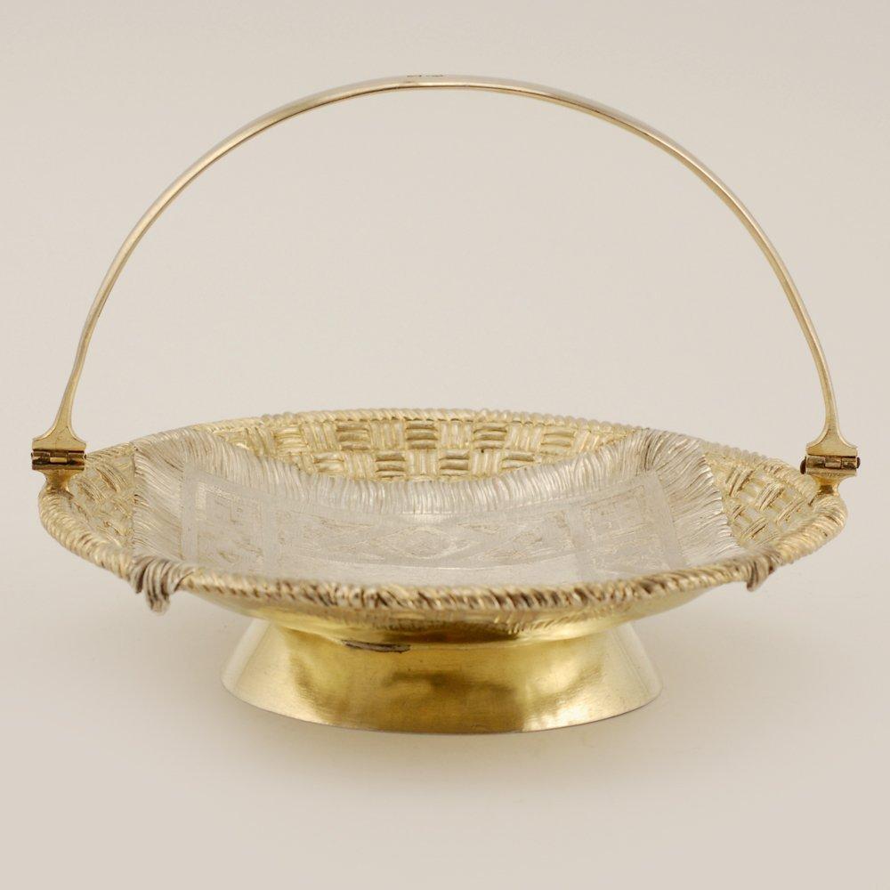 A Russian parcel gilt silver trompe l'oeil basket