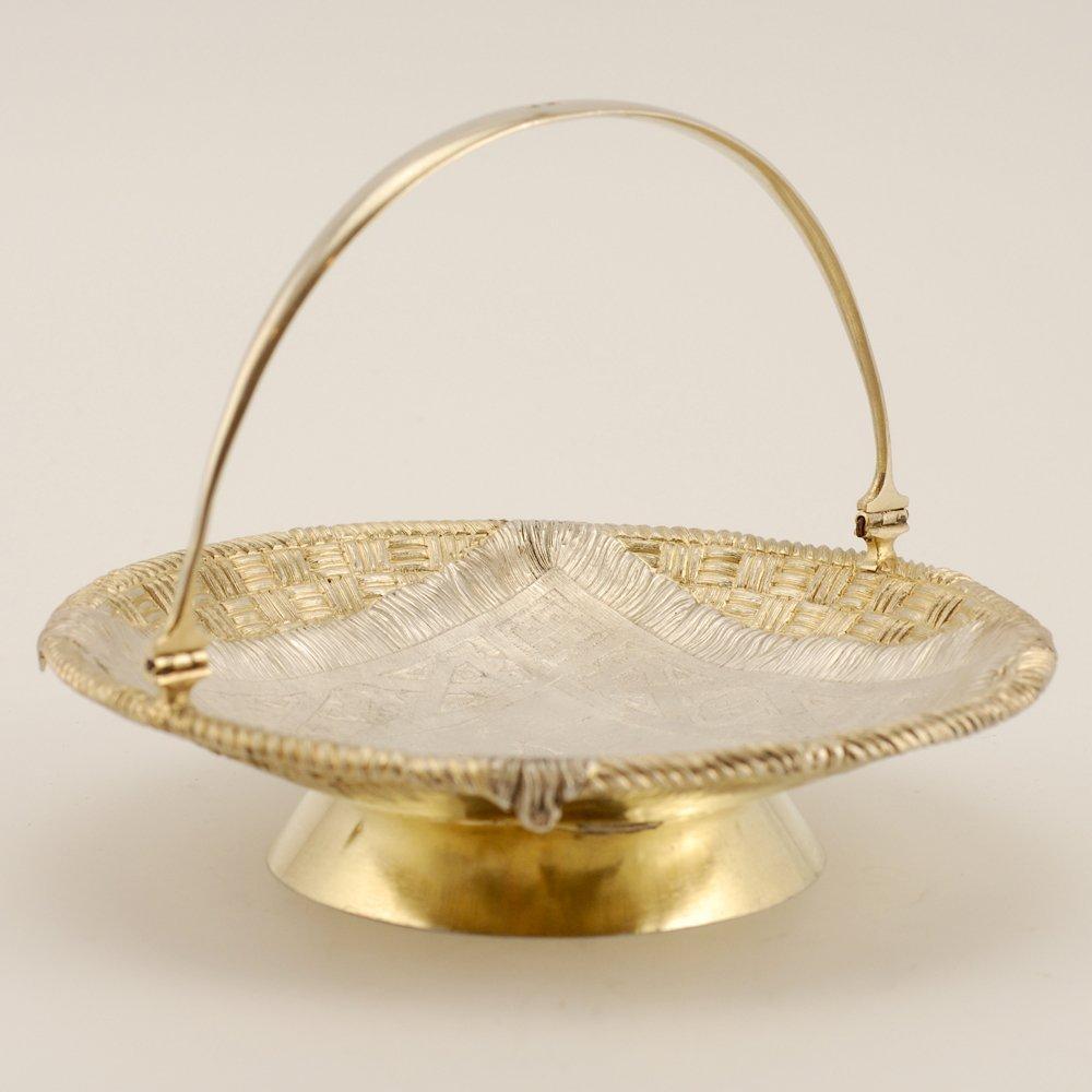 A Russian parcel gilt silver trompe l'oeil basket - 2