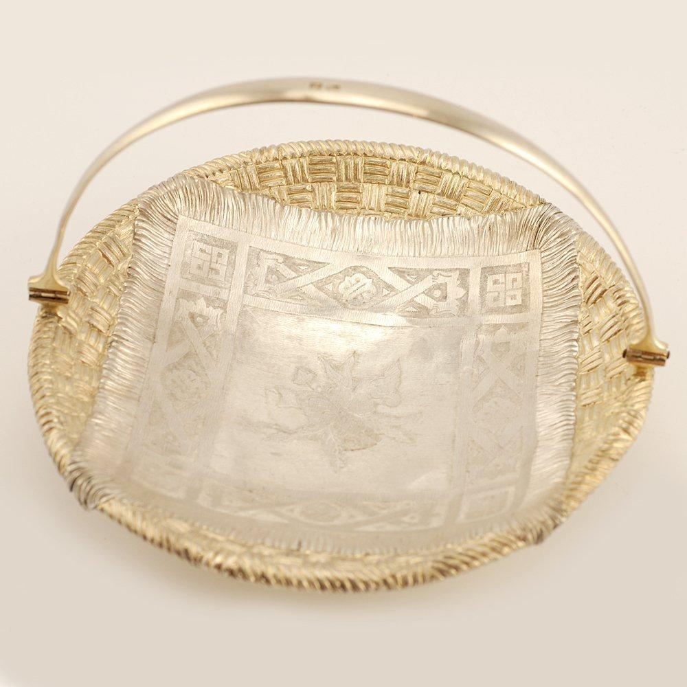 A Russian parcel gilt silver trompe l'oeil basket - 3