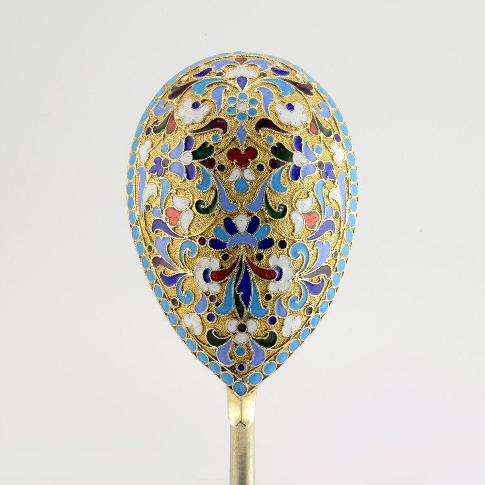 A Russian cloisonné enamel serving spoon