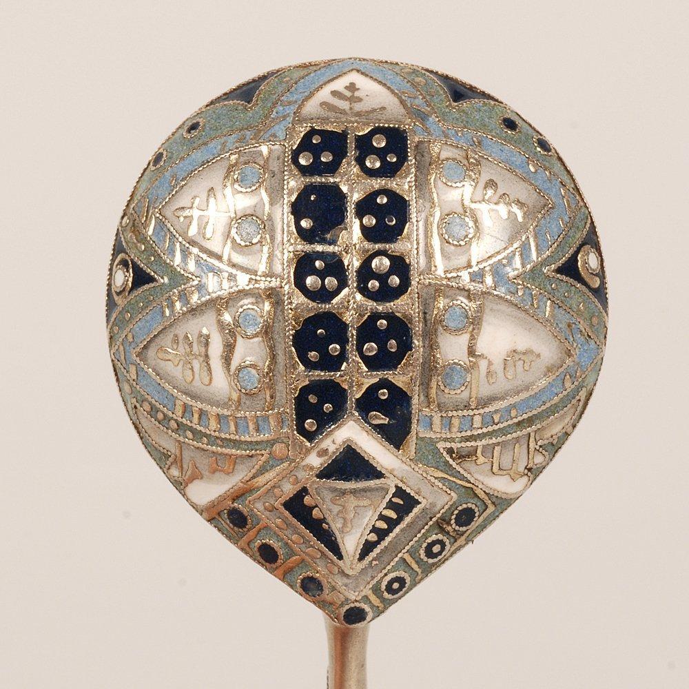 A Fabergé Rückert Russian shaded cloisonné enamel spoon