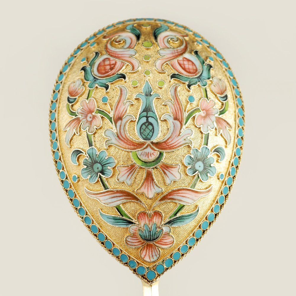A Russian shaded cloisonné enamel serving spoon