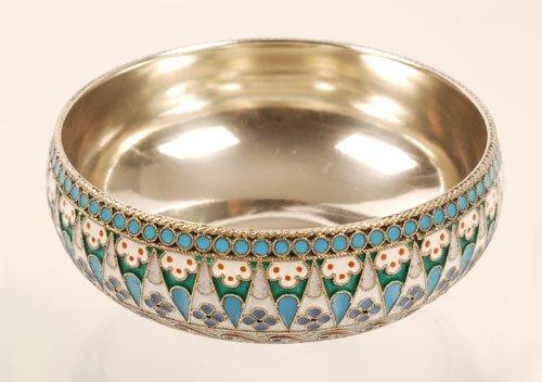 A Russian Ovchinnikov silver and enamel bowl