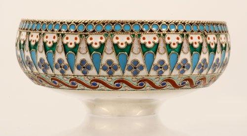 A Russian Ovchinnikov silver and enamel bowl - 3