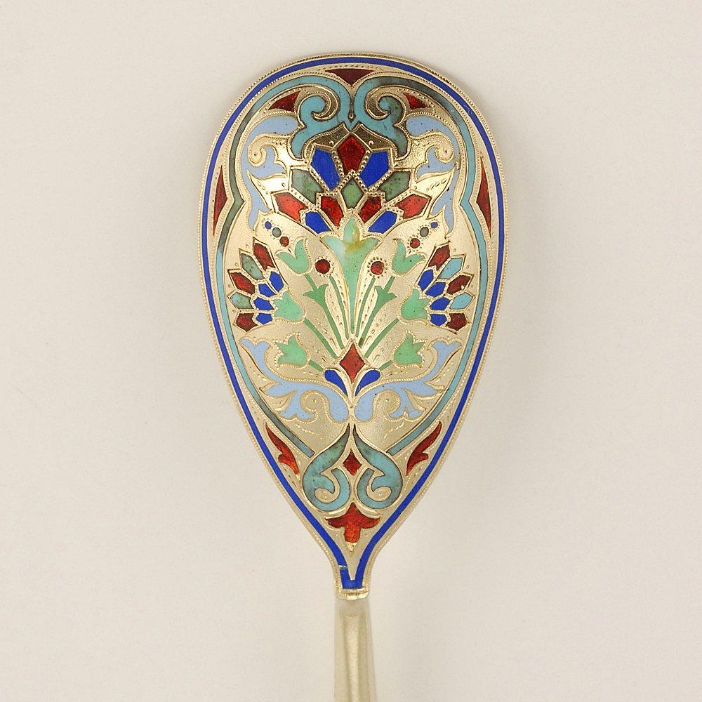 A Russian champlevé enamel spoon in original case 1895 - 2