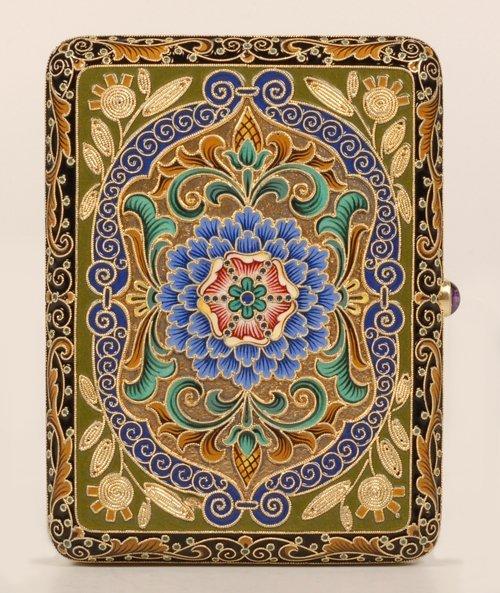 A Russian shaded cloisonné enamel cigarette case