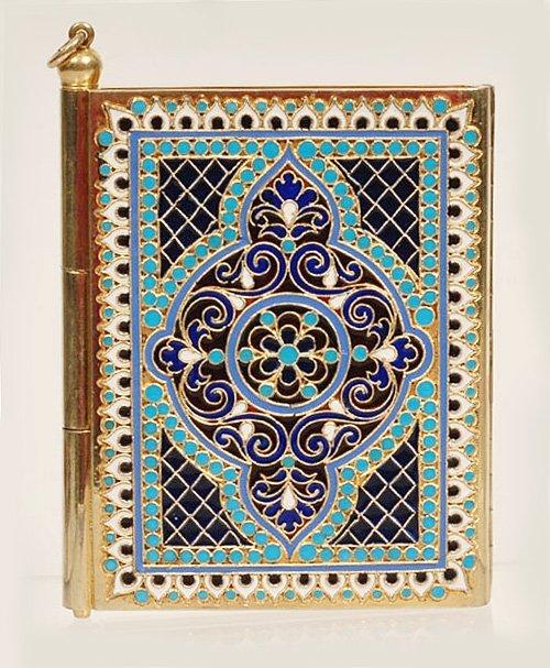 A Kuzmichev plique-à-jour enamel notebook, ca1890
