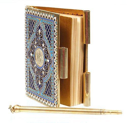 A Kuzmichev plique-à-jour enamel notebook, ca1890 - 2