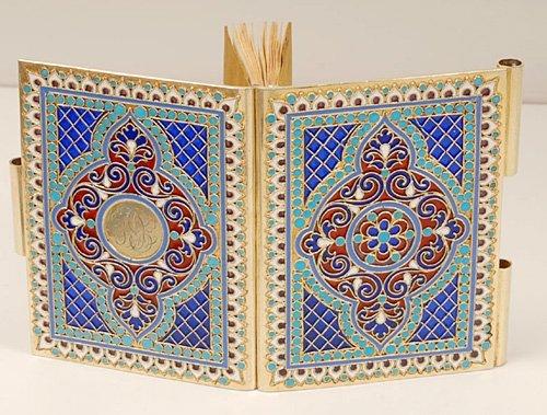A Kuzmichev plique-à-jour enamel notebook, ca1890 - 4