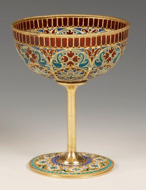 An Ovchinnikov plique-à-jour enamel goblet, c1890