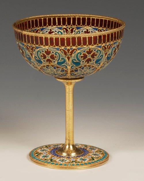 An Ovchinnikov plique-à-jour enamel goblet, c1890 - 2