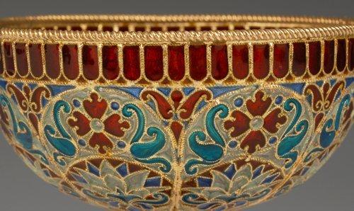 An Ovchinnikov plique-à-jour enamel goblet, c1890 - 3