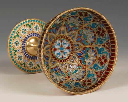An Ovchinnikov plique-à-jour enamel goblet, c1890 - 4
