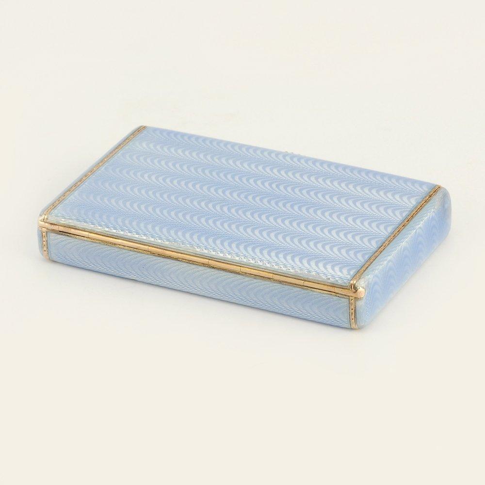 A Fabergé Wigström guilloché enamel card case, c1908-11 - 3