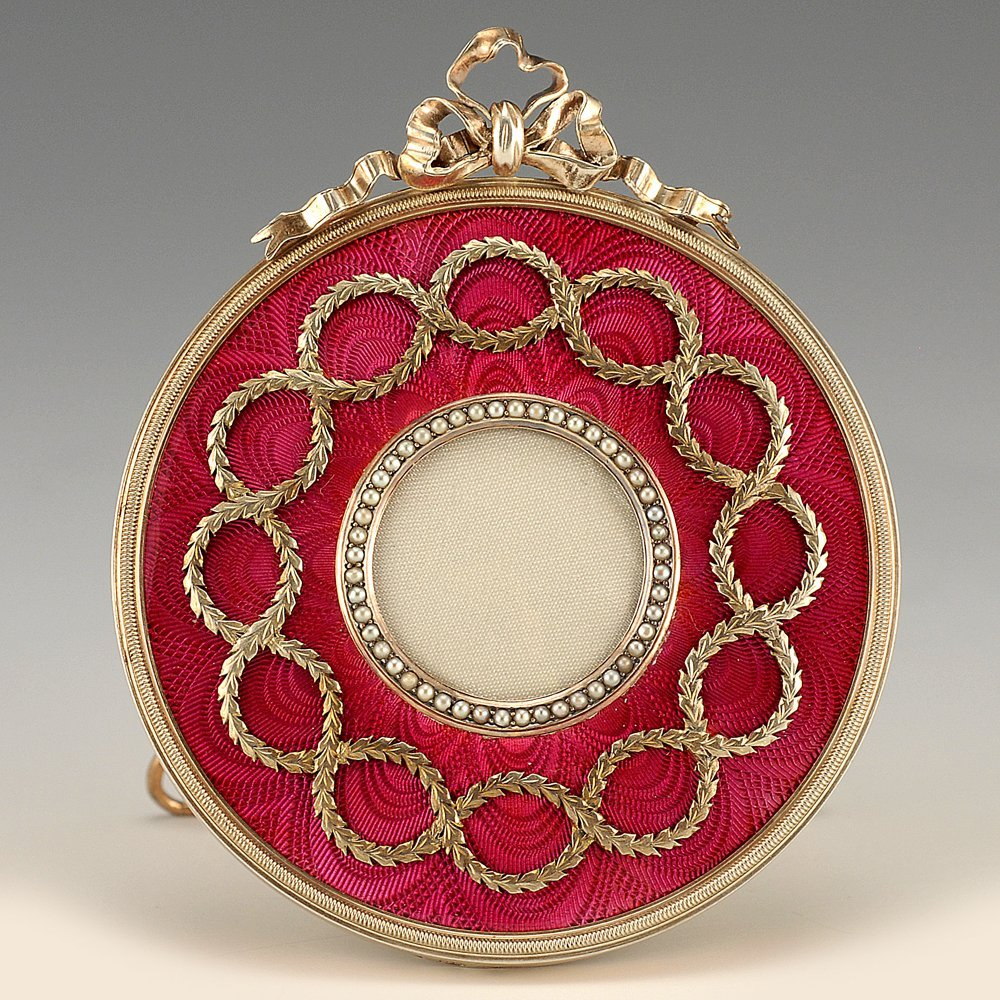A Fabergé Perchin guilloché enamel frame, ca1890