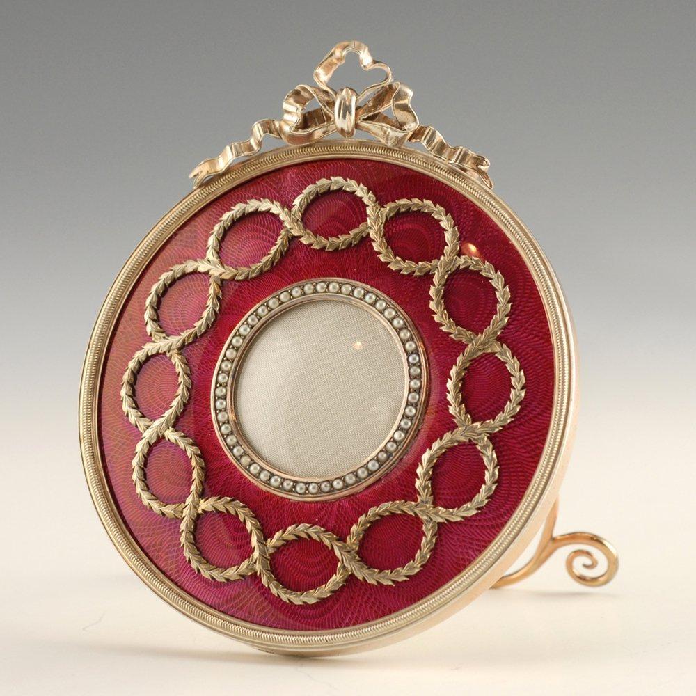 A Fabergé Perchin guilloché enamel frame, ca1890 - 2