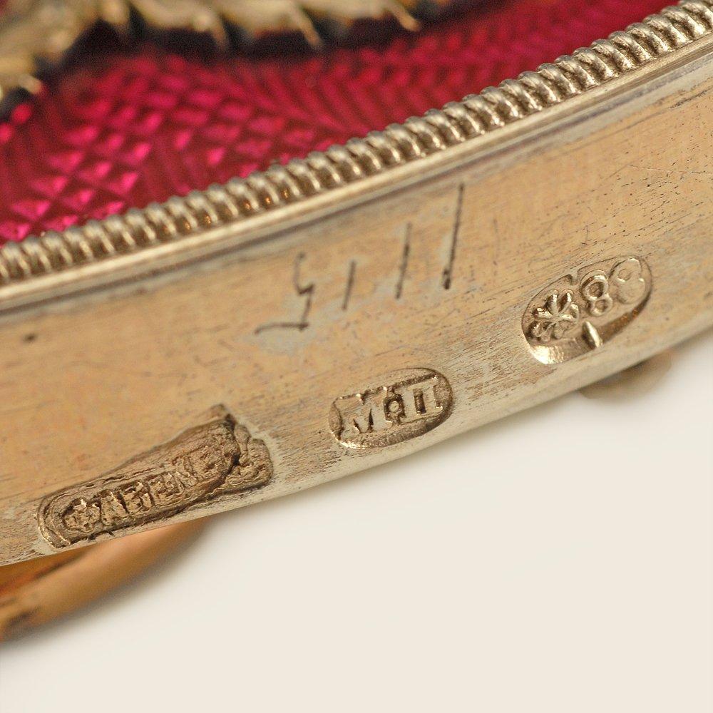 A Fabergé Perchin guilloché enamel frame, ca1890 - 5