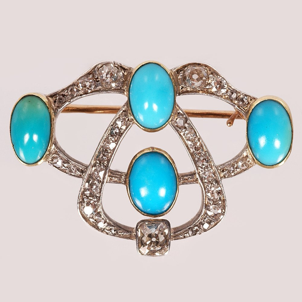 A Fabergé Oscar Pihl gold, diamond & turquoise brooch