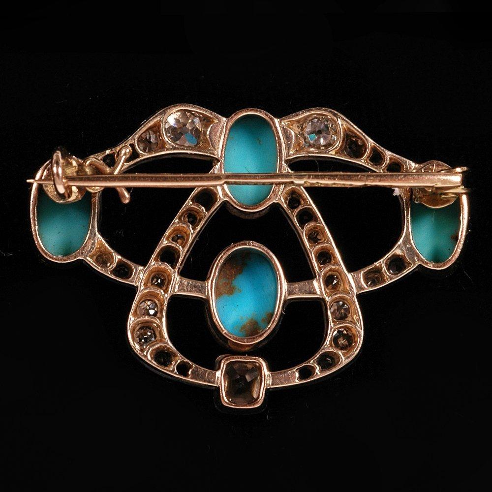 A Fabergé Oscar Pihl gold, diamond & turquoise brooch - 2