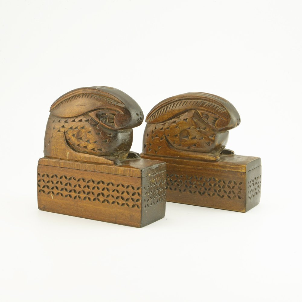 An Antique Pair of Russian Carved Wood Bookends, ca1900