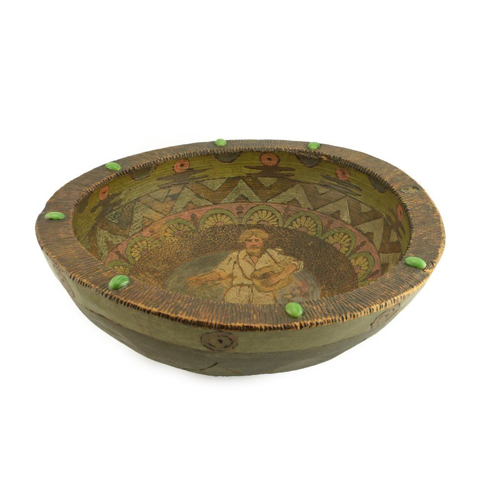 A Russian Arts and Crafts Carved Wood Bowl, ca1900