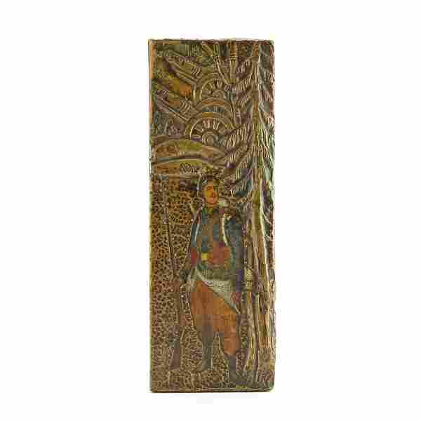 WWI: A Russian kustar art carved wood & bronze box