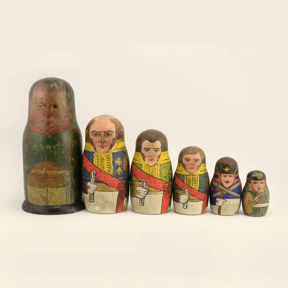 A rare set of Napoleonic nesting dolls, ca1912