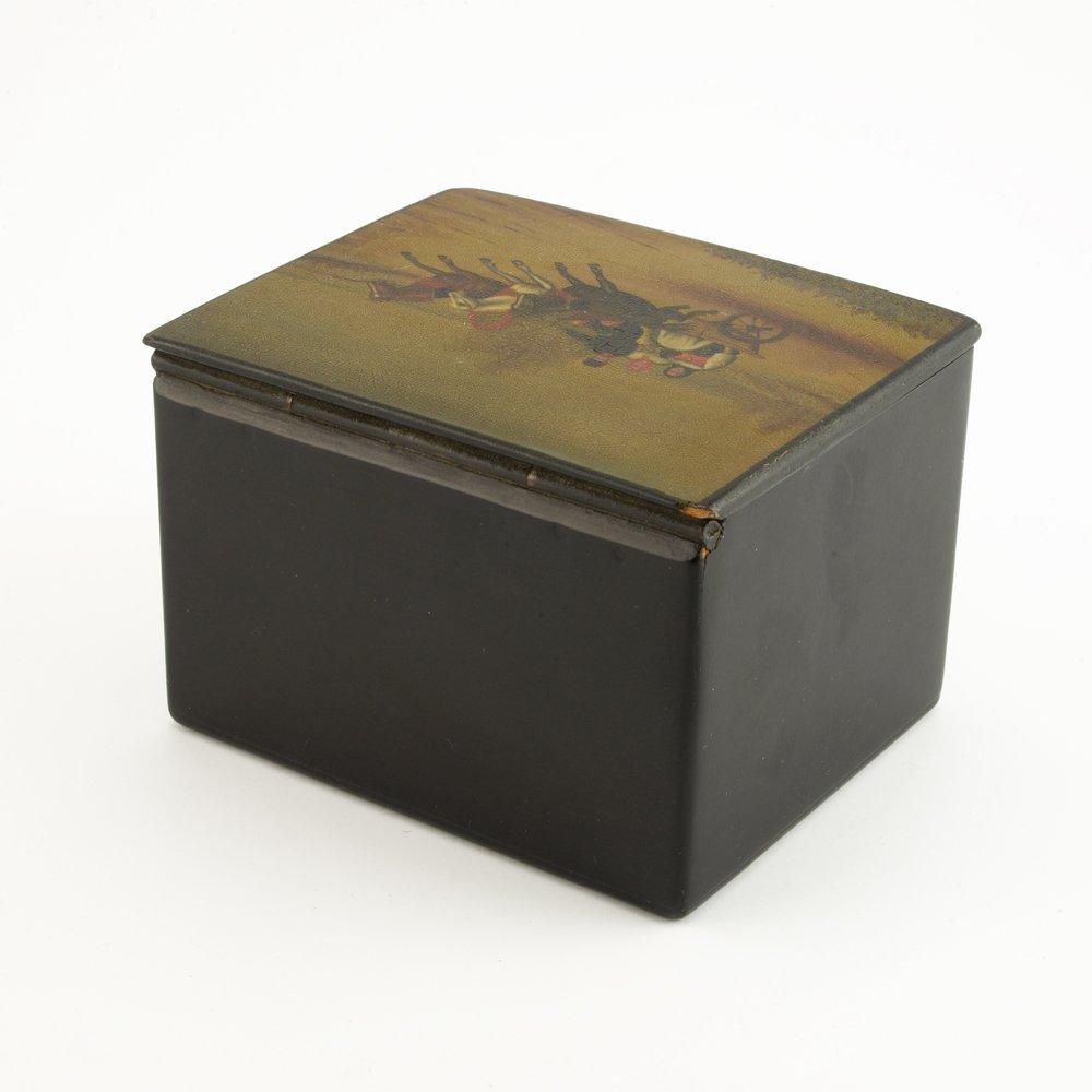 A Russian lacquer trinket box, Fedoskino Artel - 4