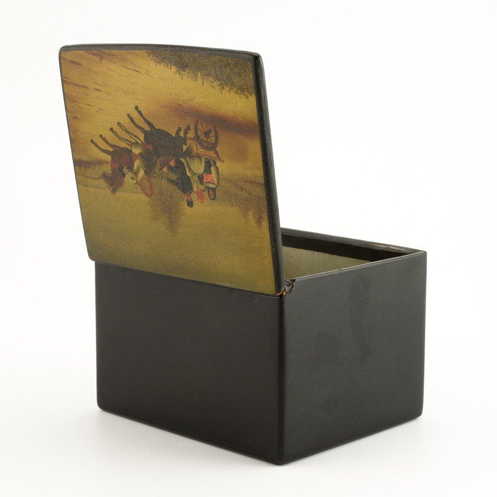 A Russian lacquer trinket box, Fedoskino Artel - 5