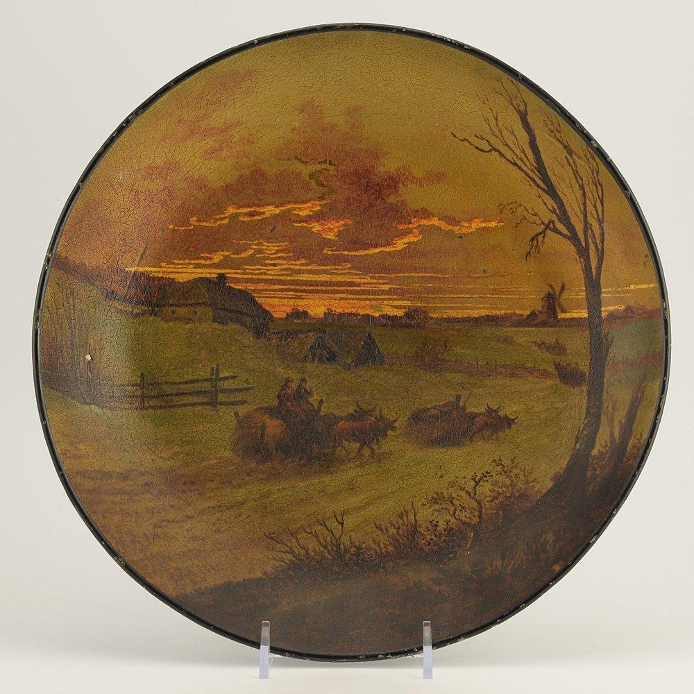 A Russian lacquer tray, Vishnyakov, late 1880s-1890s