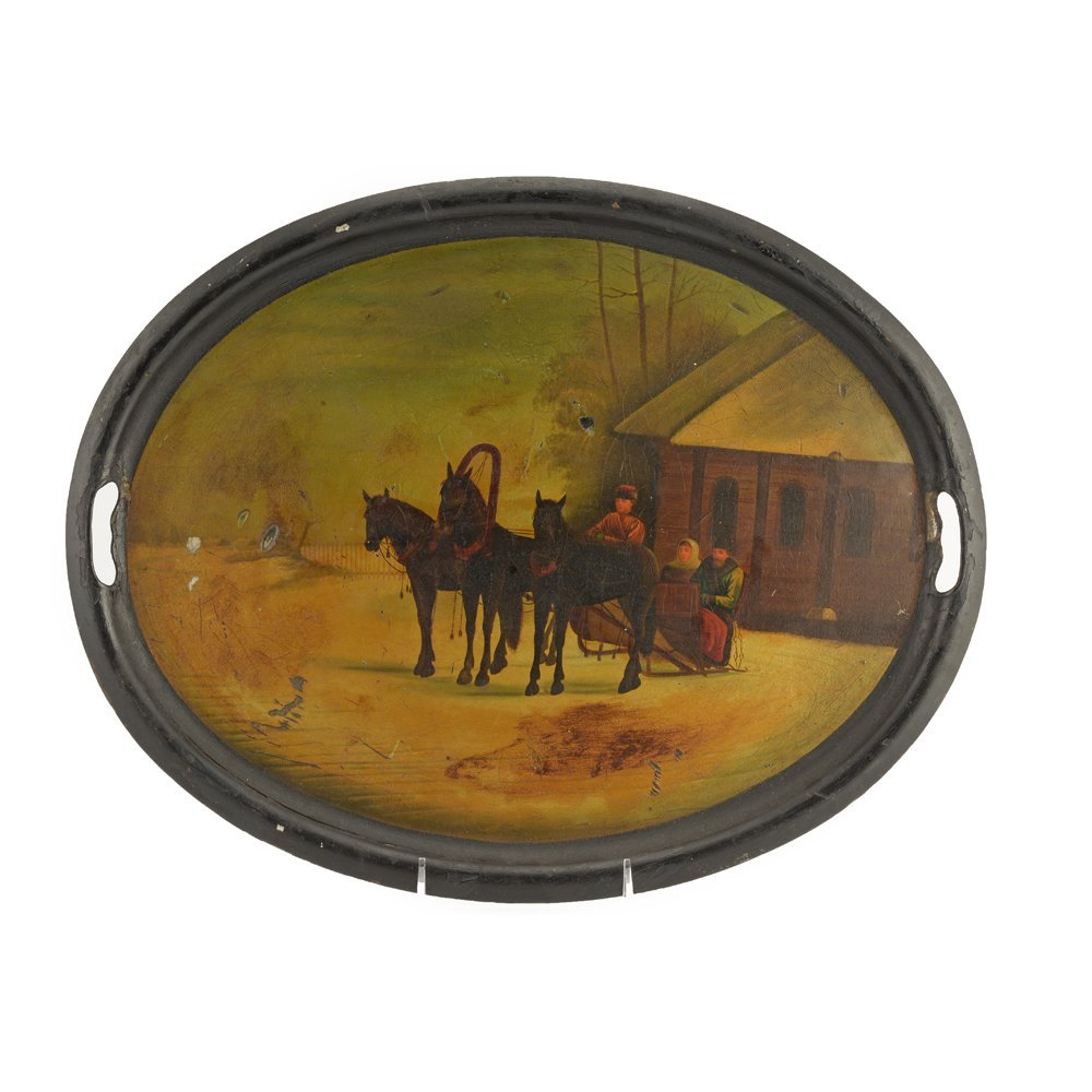 A large Russian lacquer tray, Vishnyakov, late1880s-90s