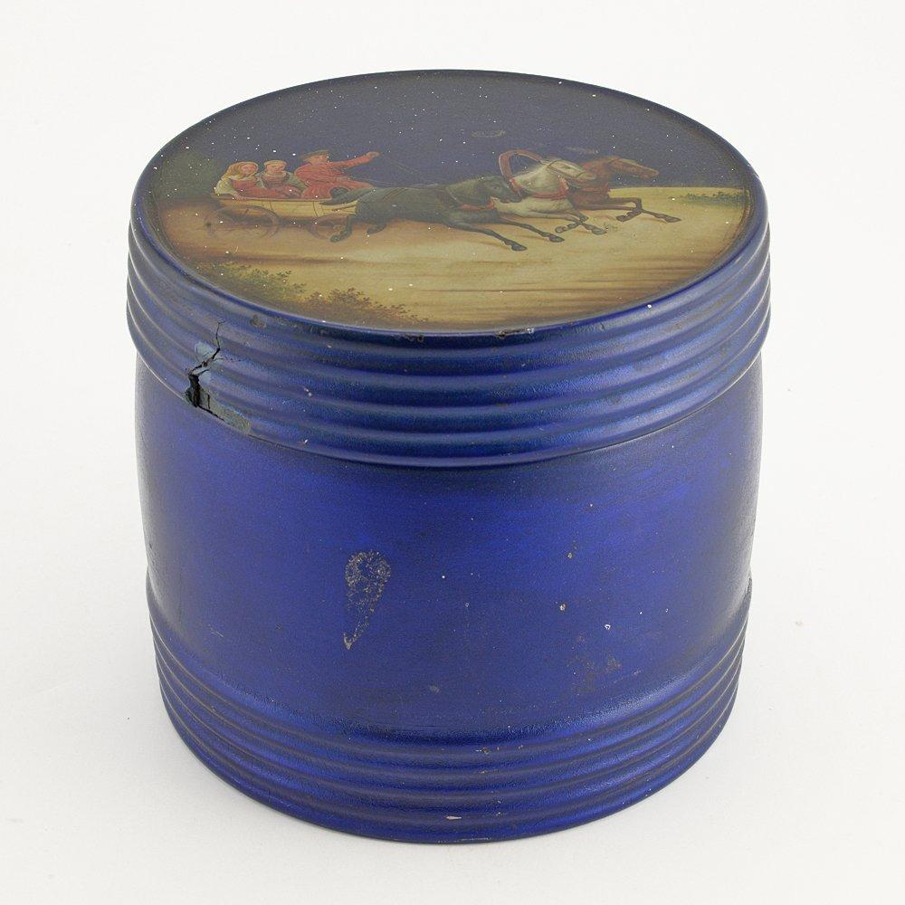 Rare Russian blue lacquer tea caddy, Vishnyakov, c1875