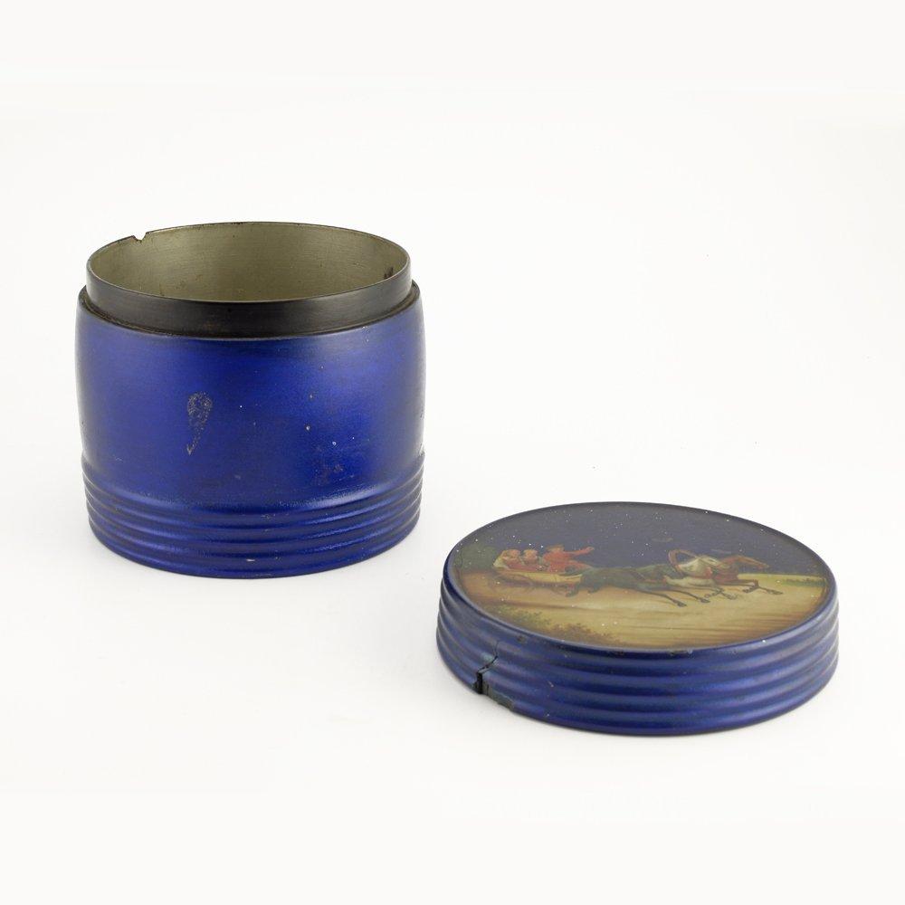 Rare Russian blue lacquer tea caddy, Vishnyakov, c1875 - 2