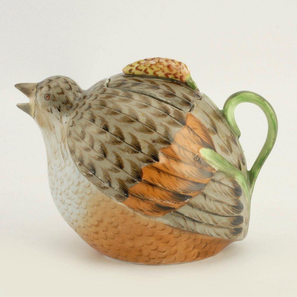 A Russian Gardner bird teapot, ca1880s