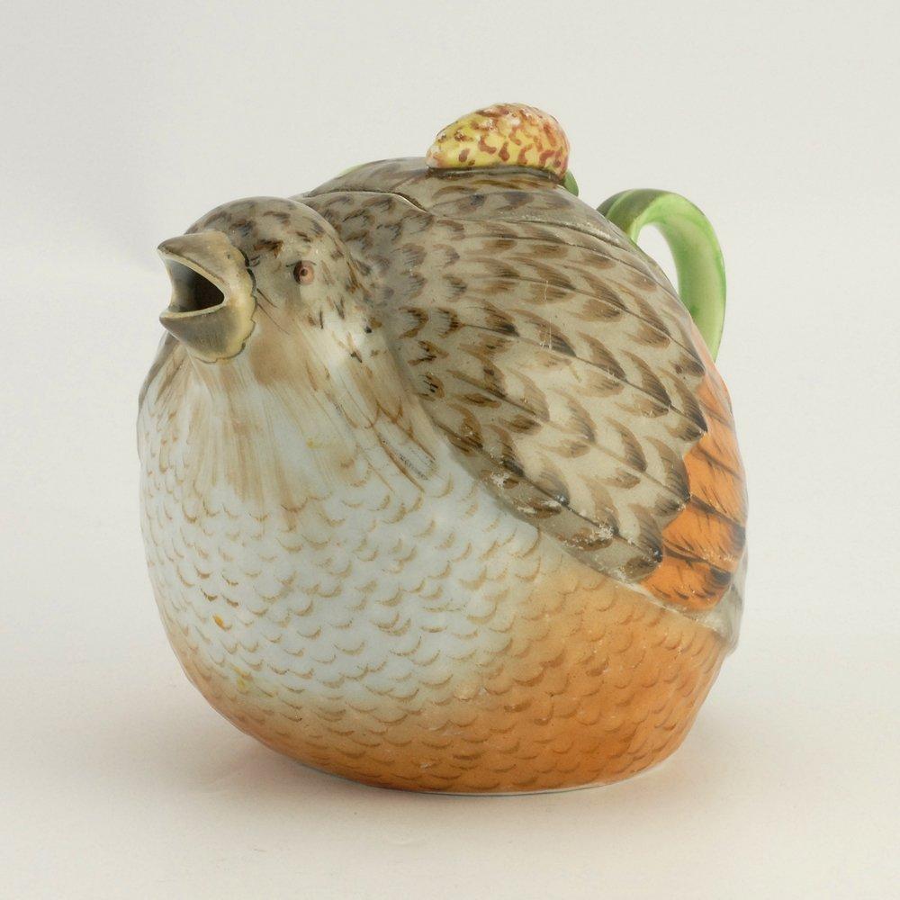 A Russian Gardner bird teapot, ca1880s - 2