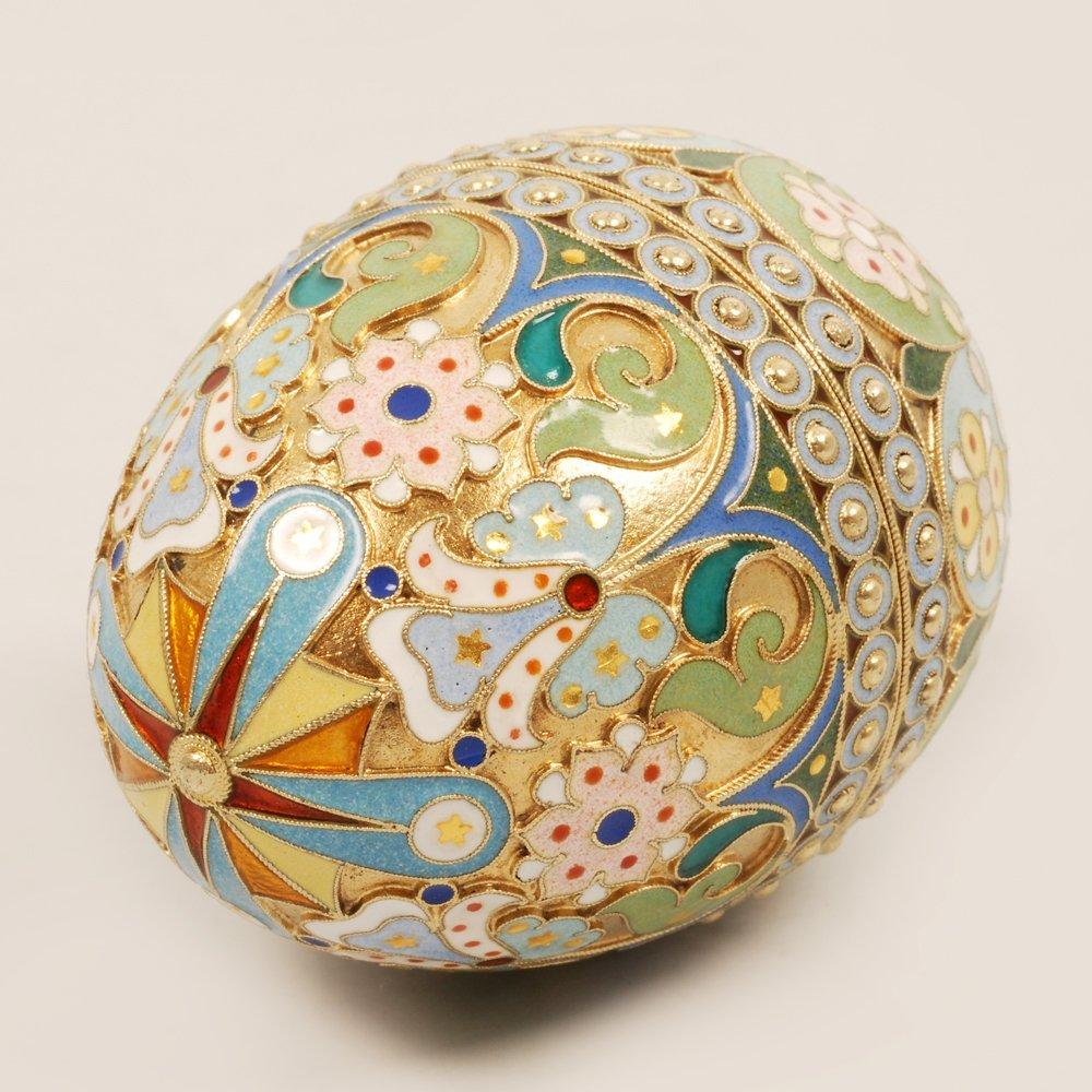 An Ovchinnikov shaded enamel Easter egg, c1899-1908 - 3