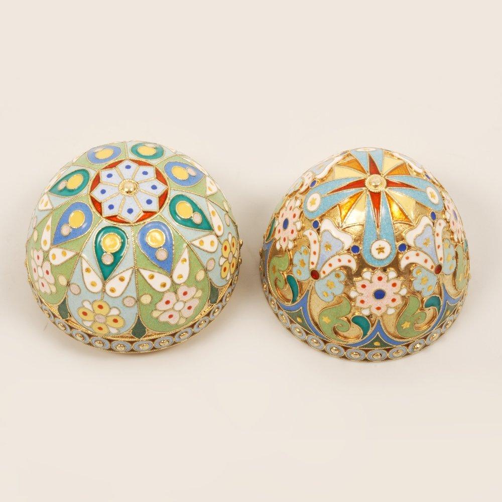 An Ovchinnikov shaded enamel Easter egg, c1899-1908 - 4
