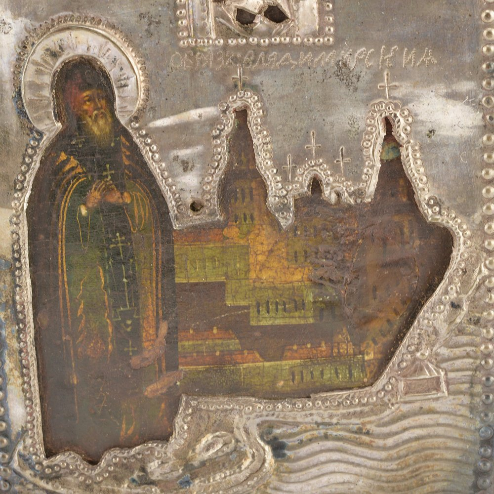 Icon of St. Nil Stolbenskii with silver cover, 19thc. - 3