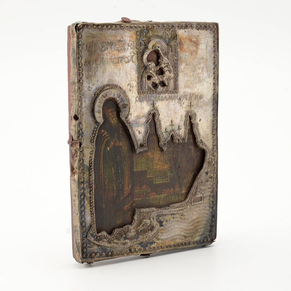 Icon of St. Nil Stolbenskii with silver cover, 19thc. - 4